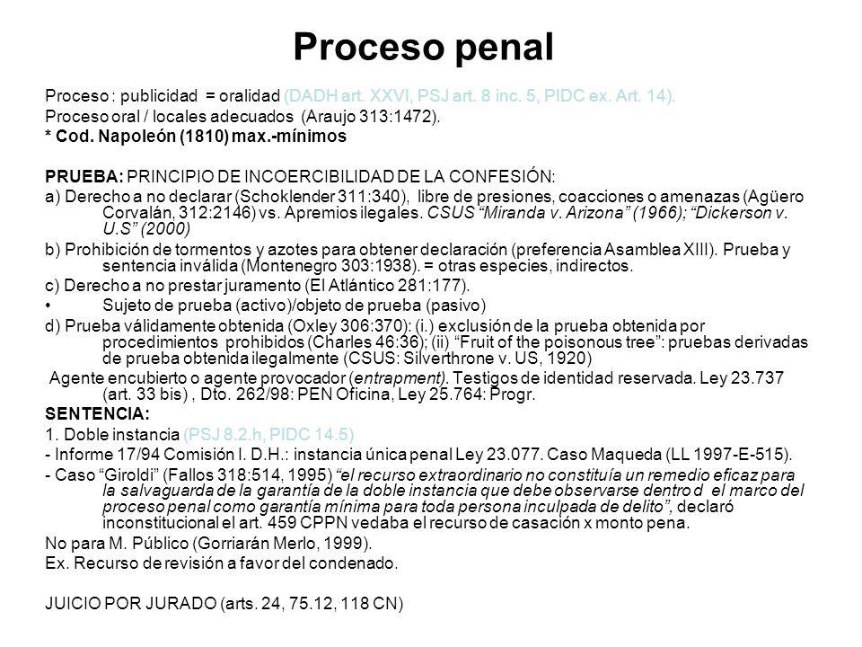 Proceso penal Proceso : publicidad = oralidad (DADH art. XXVI, PSJ art. 8 inc. 5, PIDC ex. Art. 14).