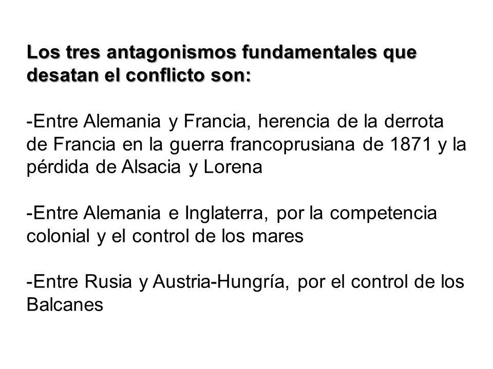 Los tres antagonismos fundamentales que desatan el conflicto son: