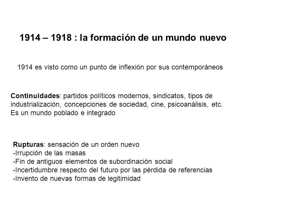 1914 – 1918 : la formación de un mundo nuevo
