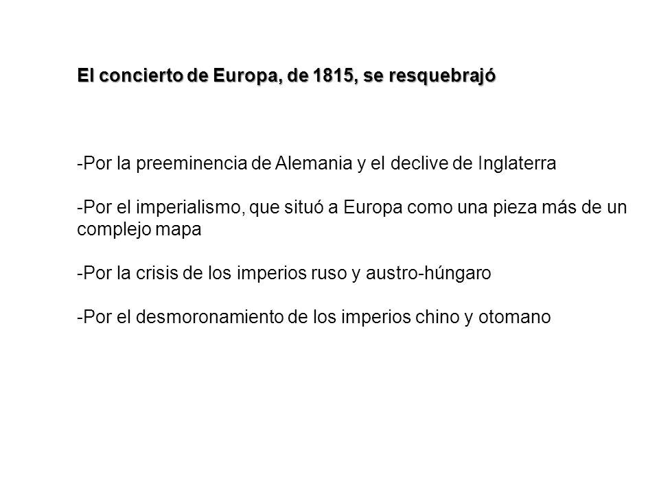 El concierto de Europa, de 1815, se resquebrajó