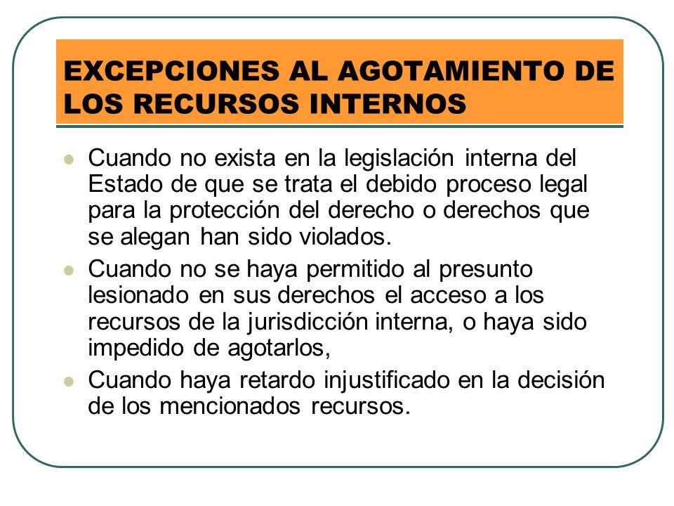 EXCEPCIONES AL AGOTAMIENTO DE LOS RECURSOS INTERNOS