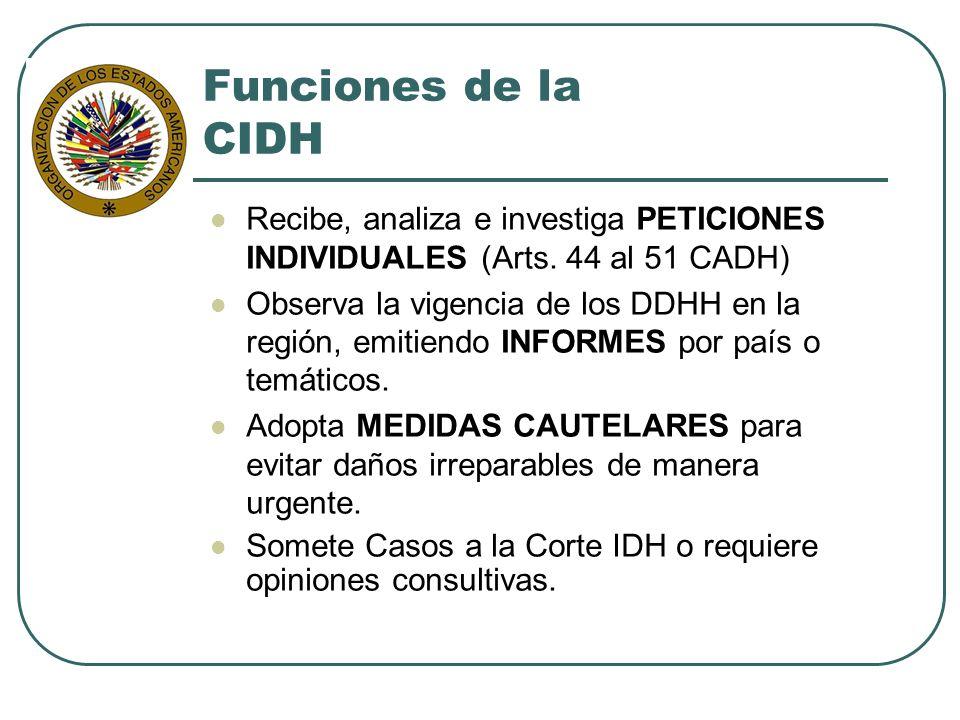 Funciones de la CIDH Recibe, analiza e investiga PETICIONES INDIVIDUALES (Arts. 44 al 51 CADH)