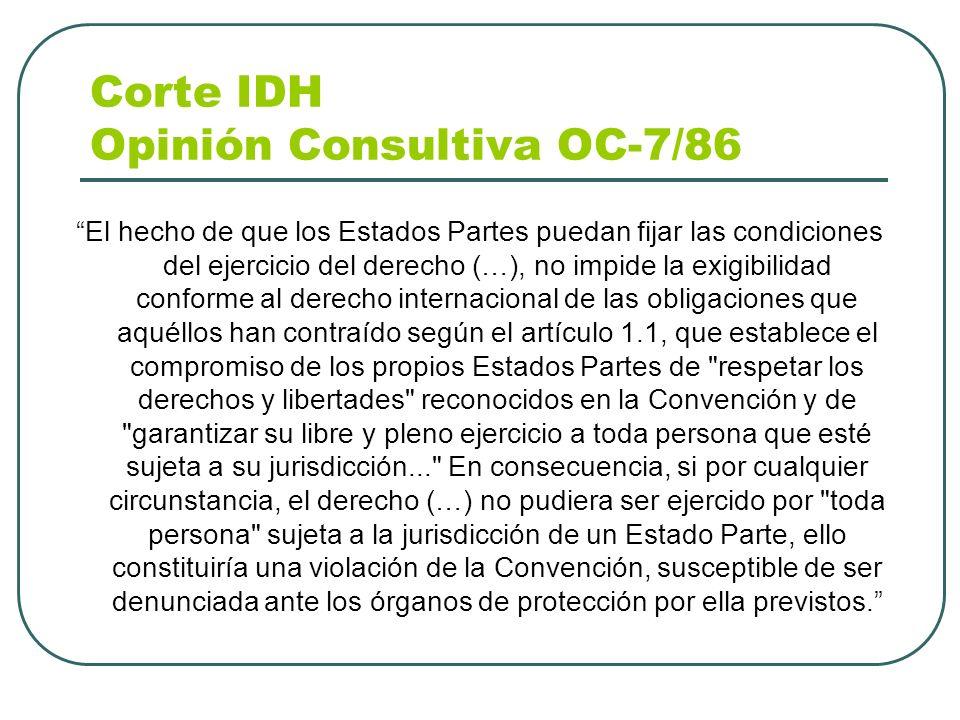 Corte IDH Opinión Consultiva OC-7/86