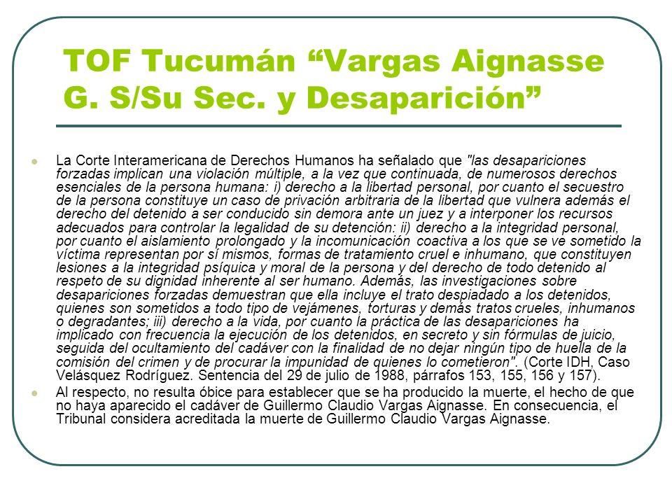 TOF Tucumán Vargas Aignasse G. S/Su Sec. y Desaparición
