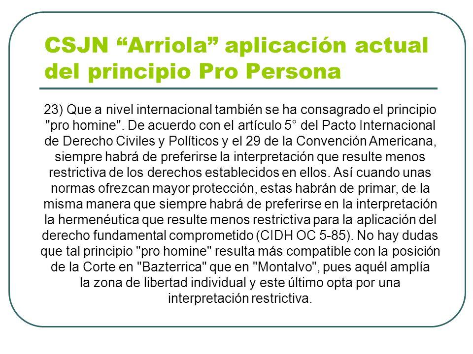 CSJN Arriola aplicación actual del principio Pro Persona