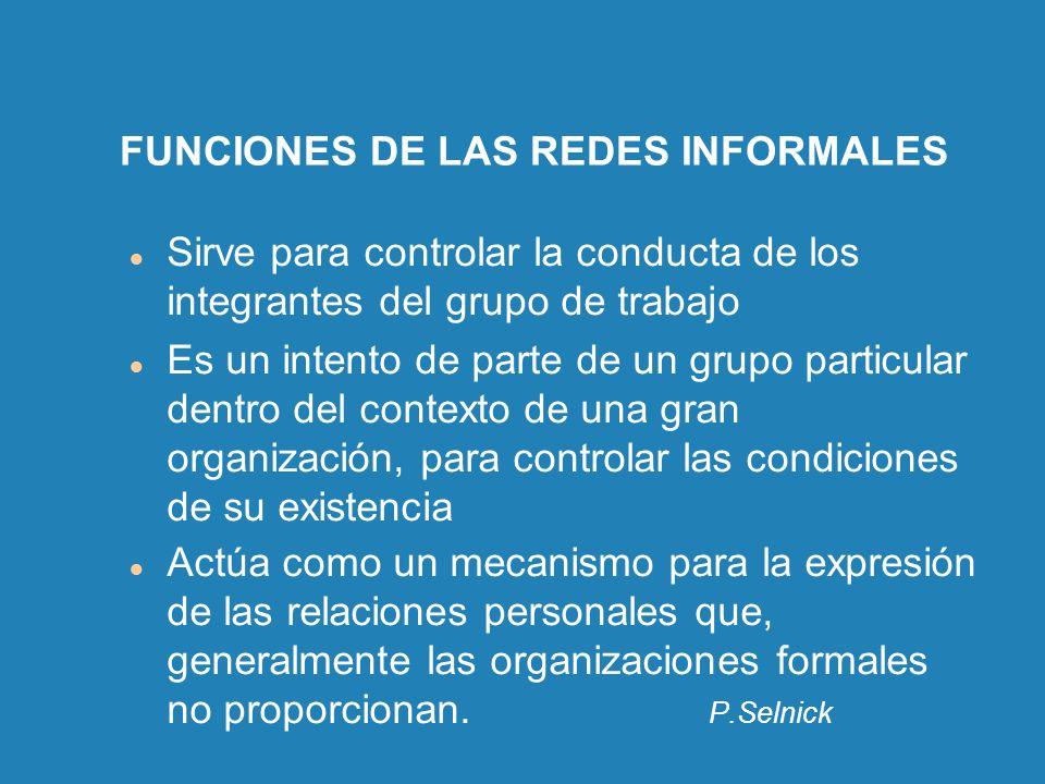 FUNCIONES DE LAS REDES INFORMALES