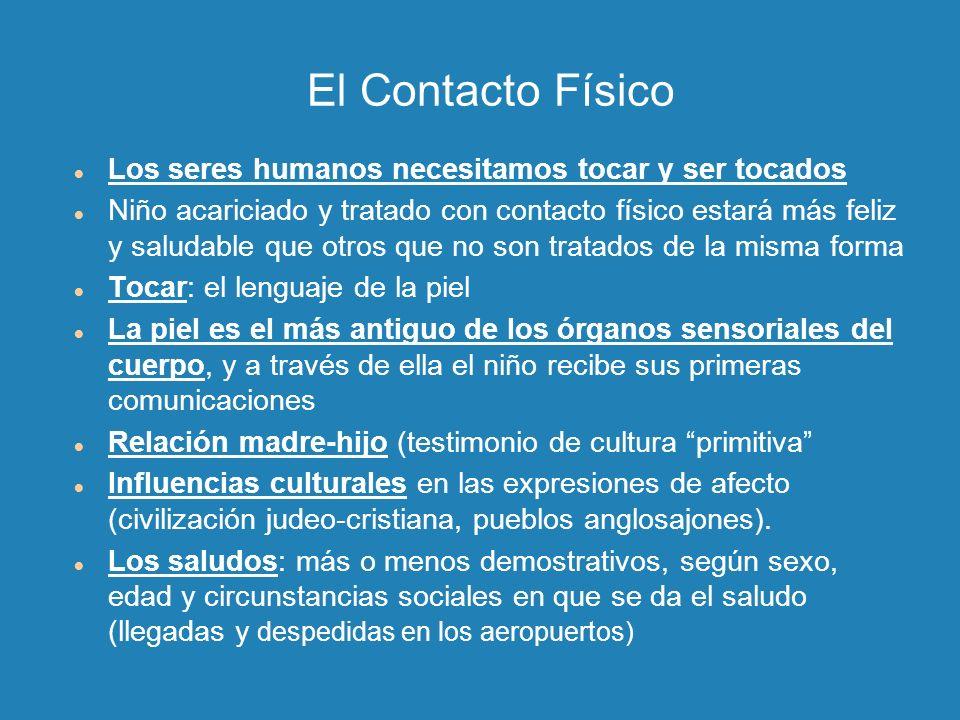 El Contacto Físico Los seres humanos necesitamos tocar y ser tocados