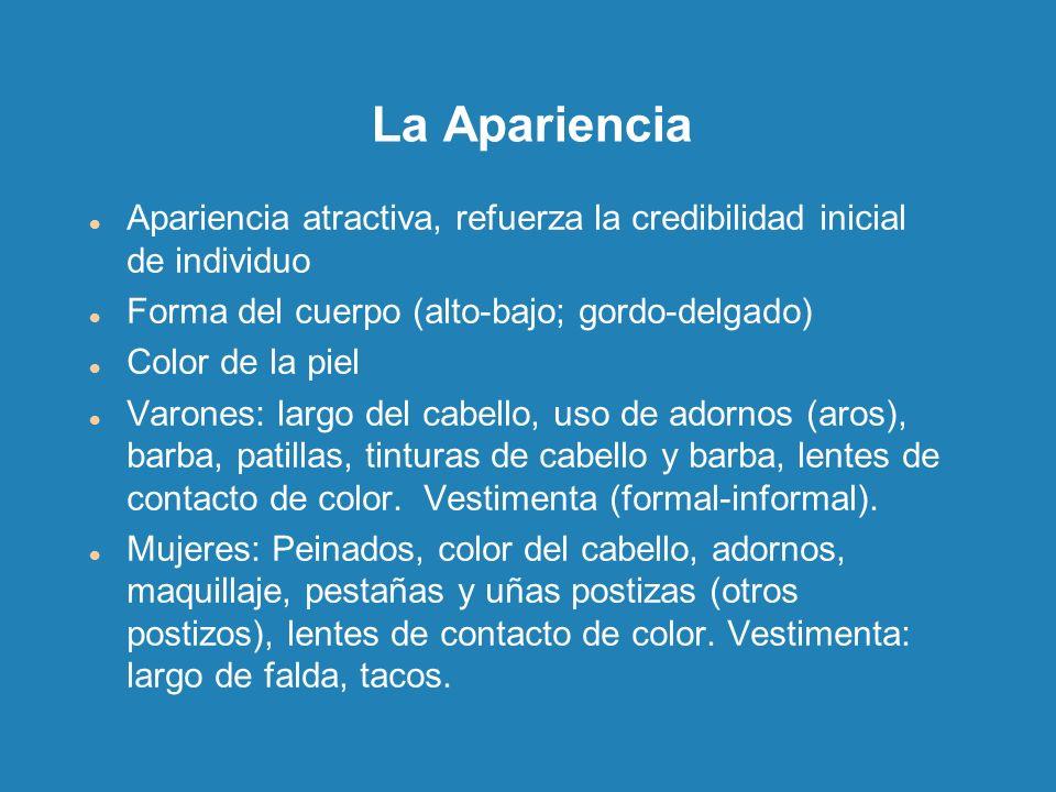 La Apariencia Apariencia atractiva, refuerza la credibilidad inicial de individuo. Forma del cuerpo (alto-bajo; gordo-delgado)