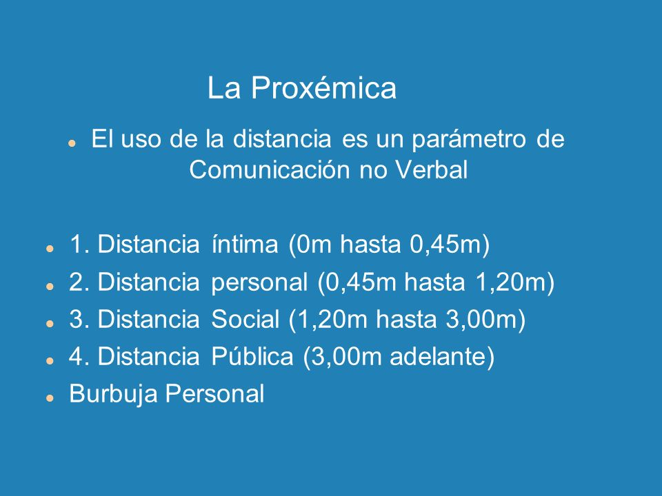 El uso de la distancia es un parámetro de Comunicación no Verbal