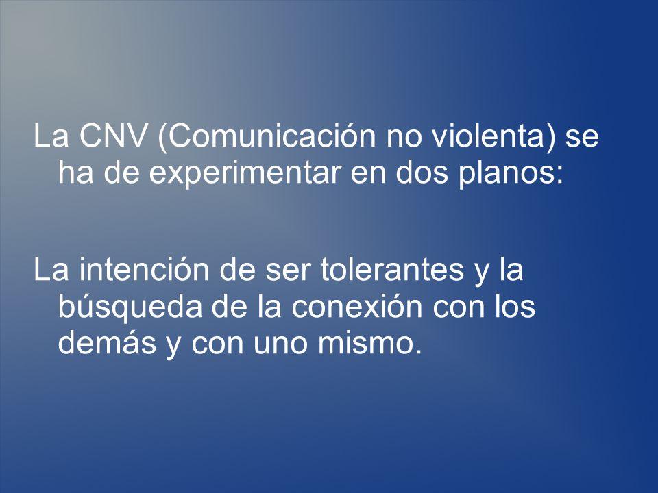 La CNV (Comunicación no violenta) se ha de experimentar en dos planos: