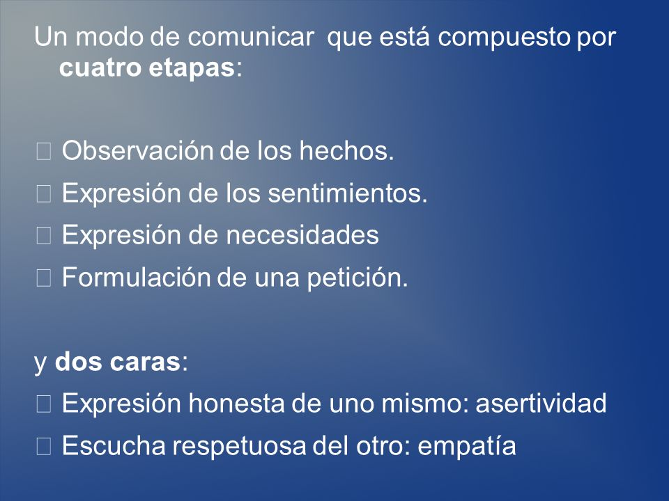 Un modo de comunicar que está compuesto por cuatro etapas: