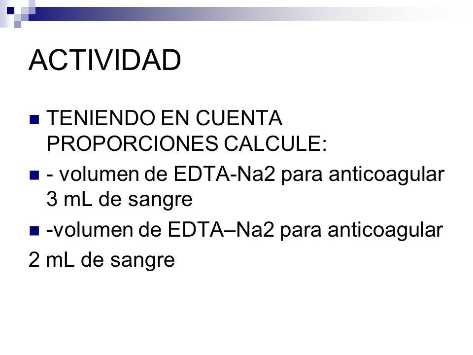 ACTIVIDAD TENIENDO EN CUENTA PROPORCIONES CALCULE:
