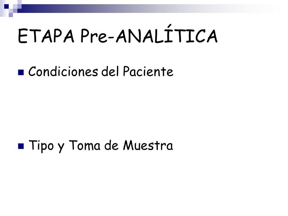 ETAPA Pre-ANALÍTICA Condiciones del Paciente Tipo y Toma de Muestra