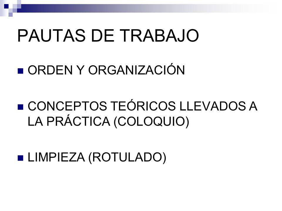 PAUTAS DE TRABAJO ORDEN Y ORGANIZACIÓN