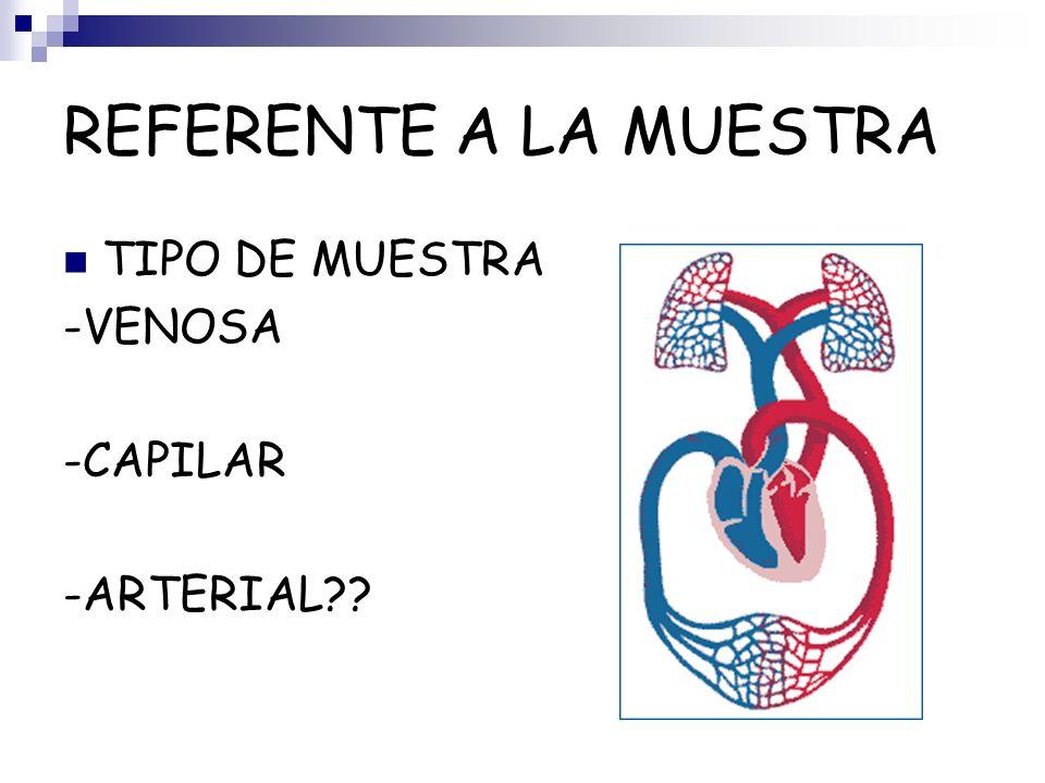 REFERENTE A LA MUESTRA TIPO DE MUESTRA -VENOSA -CAPILAR -ARTERIAL