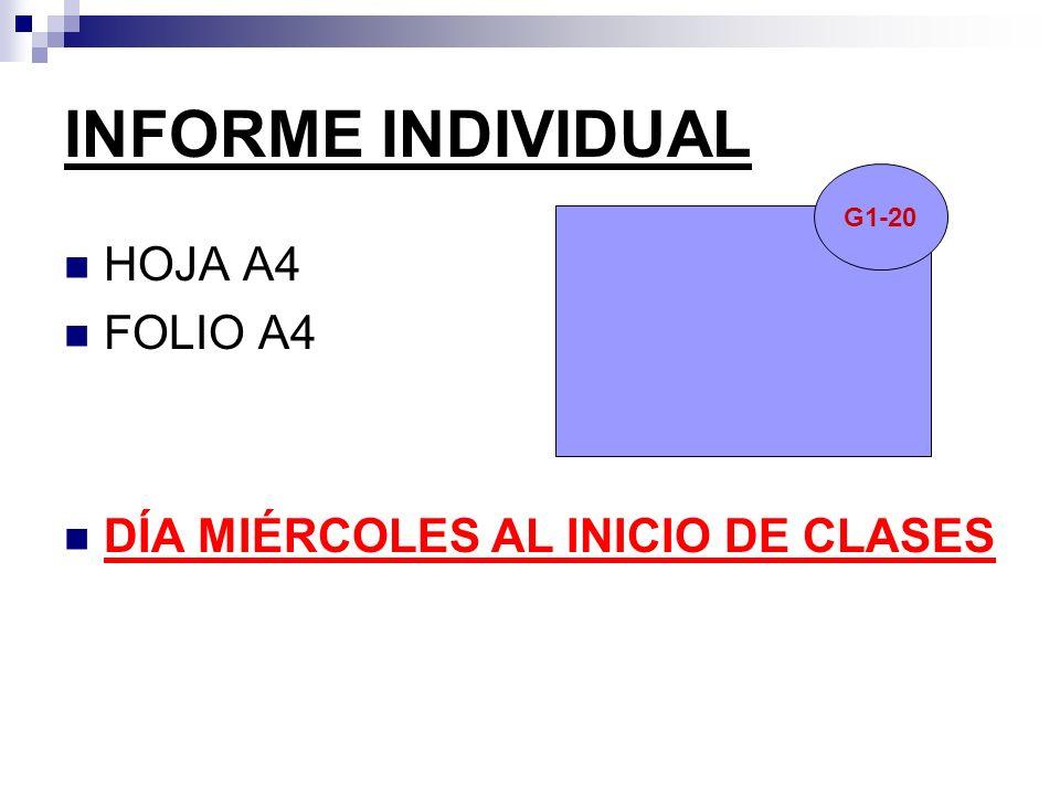 INFORME INDIVIDUAL HOJA A4 FOLIO A4 DÍA MIÉRCOLES AL INICIO DE CLASES