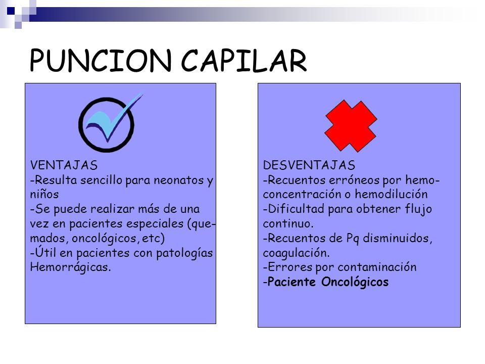 PUNCION CAPILAR VENTAJAS -Resulta sencillo para neonatos y niños
