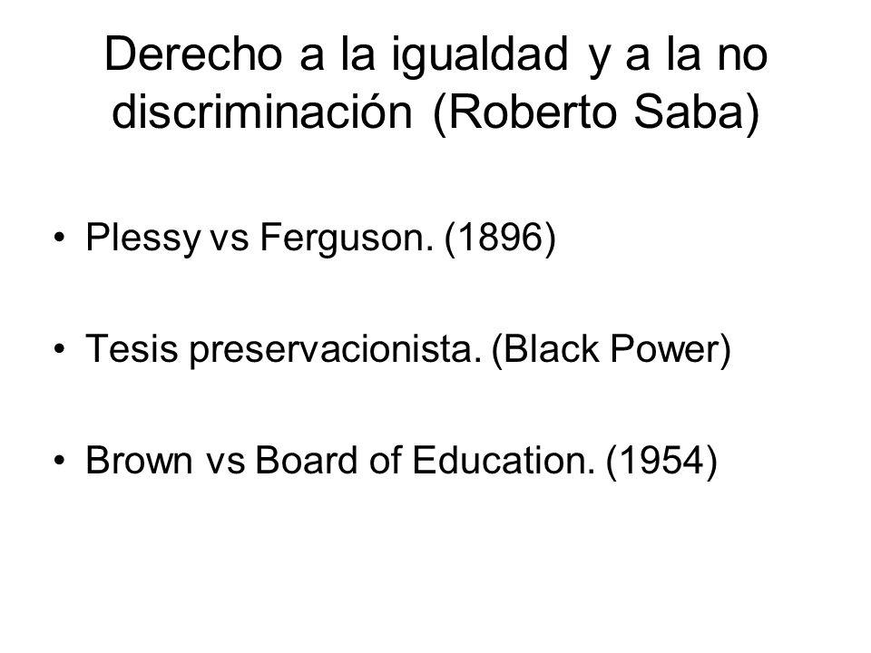 Derecho a la igualdad y a la no discriminación (Roberto Saba)