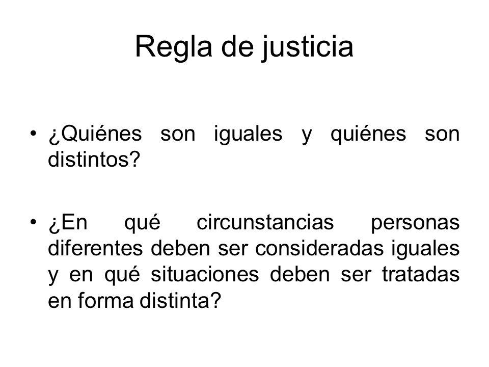 Regla de justicia ¿Quiénes son iguales y quiénes son distintos