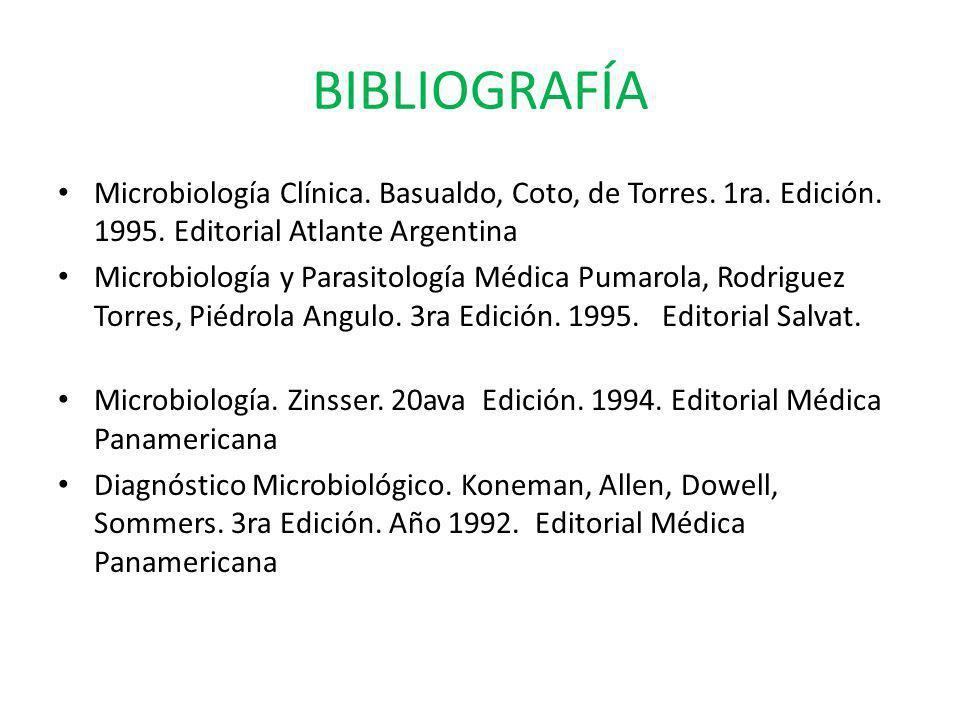 BIBLIOGRAFÍA Microbiología Clínica. Basualdo, Coto, de Torres. 1ra. Edición. 1995. Editorial Atlante Argentina.