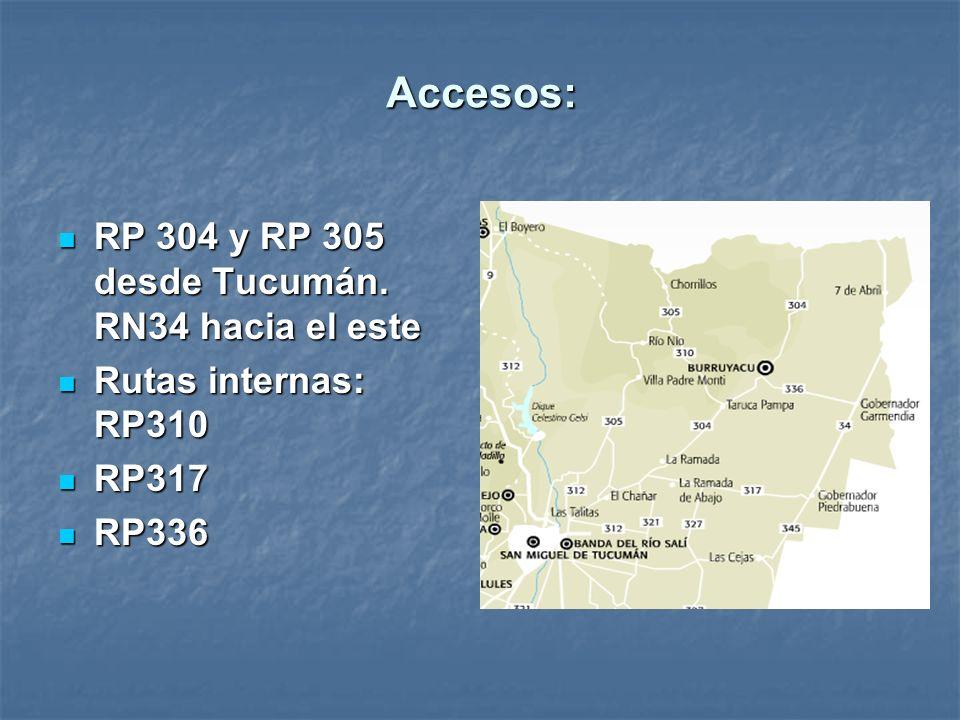 Accesos: RP 304 y RP 305 desde Tucumán. RN34 hacia el este