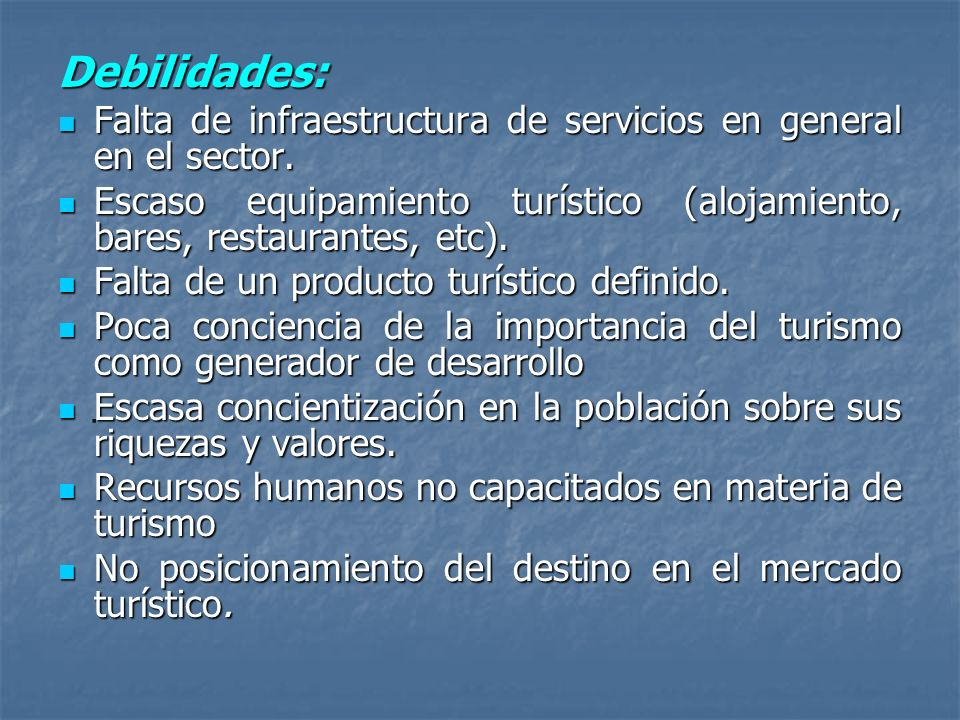 Debilidades:Falta de infraestructura de servicios en general en el sector. Escaso equipamiento turístico (alojamiento, bares, restaurantes, etc).