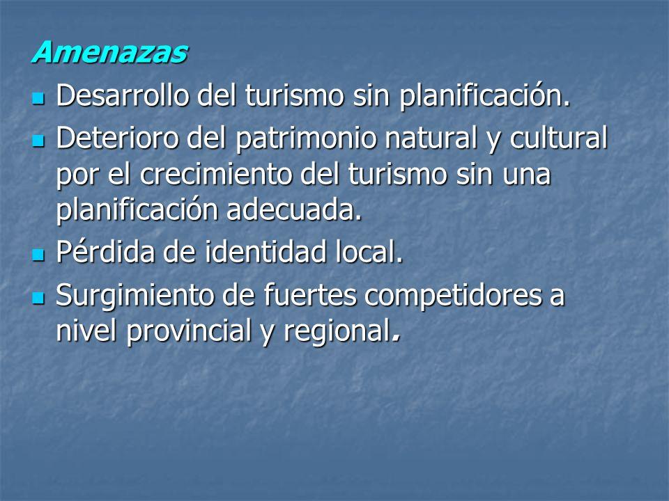 Amenazas Desarrollo del turismo sin planificación.