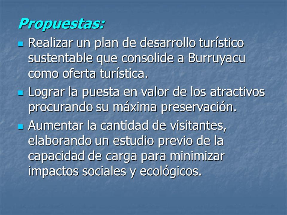 Propuestas:Realizar un plan de desarrollo turístico sustentable que consolide a Burruyacu como oferta turística.