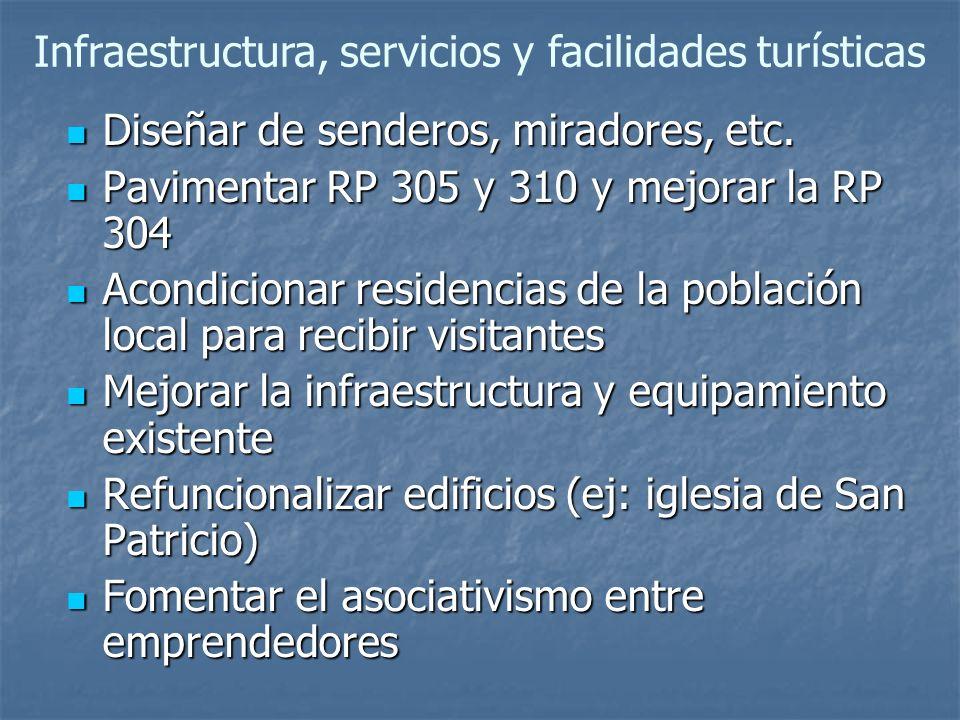 Infraestructura, servicios y facilidades turísticas
