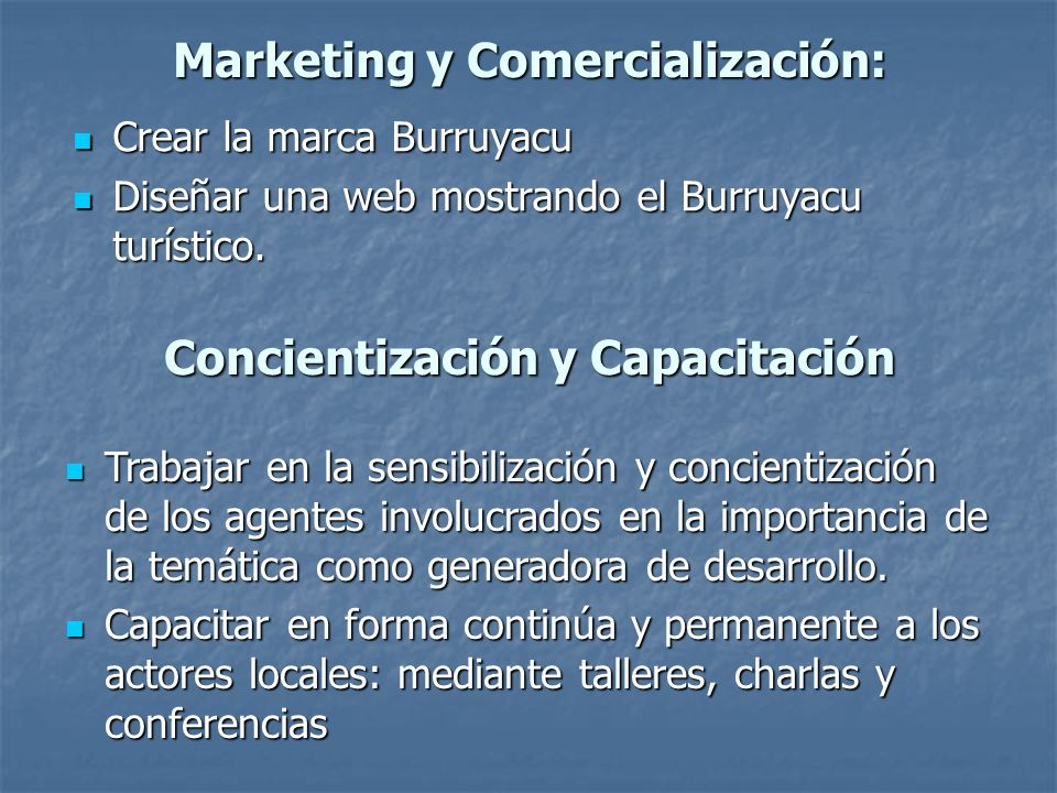 Marketing y Comercialización: