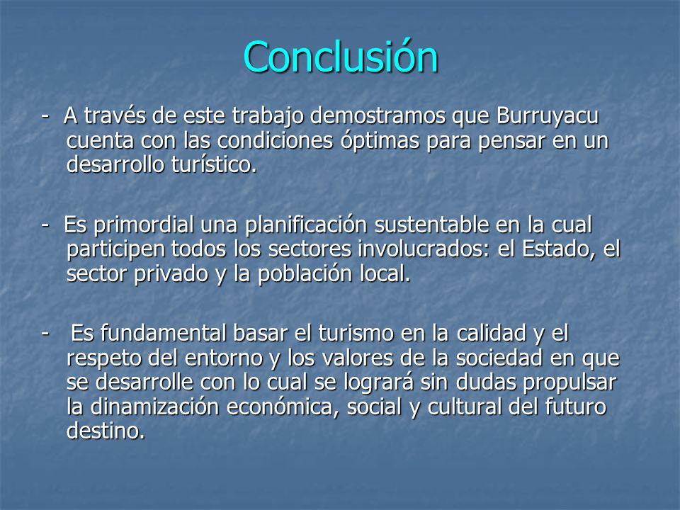 Conclusión - A través de este trabajo demostramos que Burruyacu cuenta con las condiciones óptimas para pensar en un desarrollo turístico.