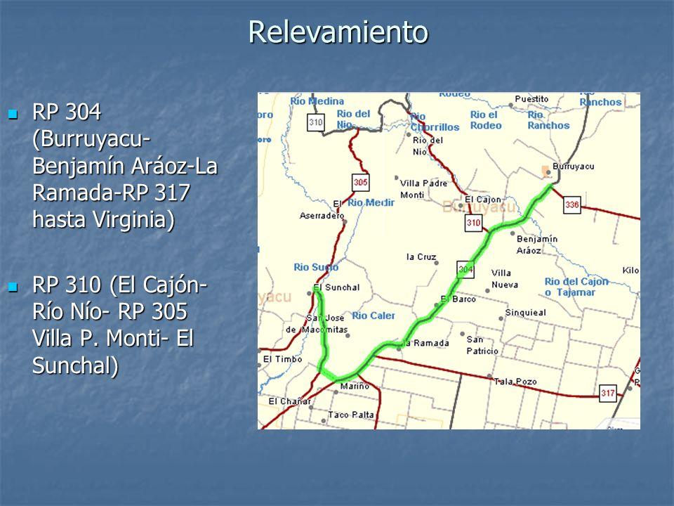 RelevamientoRP 304 (Burruyacu- Benjamín Aráoz-La Ramada-RP 317 hasta Virginia) RP 310 (El Cajón-Río Nío- RP 305 Villa P.