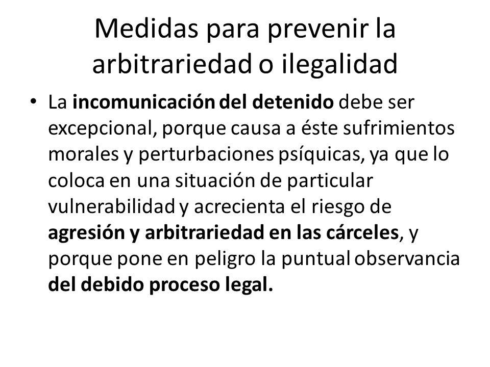 Medidas para prevenir la arbitrariedad o ilegalidad