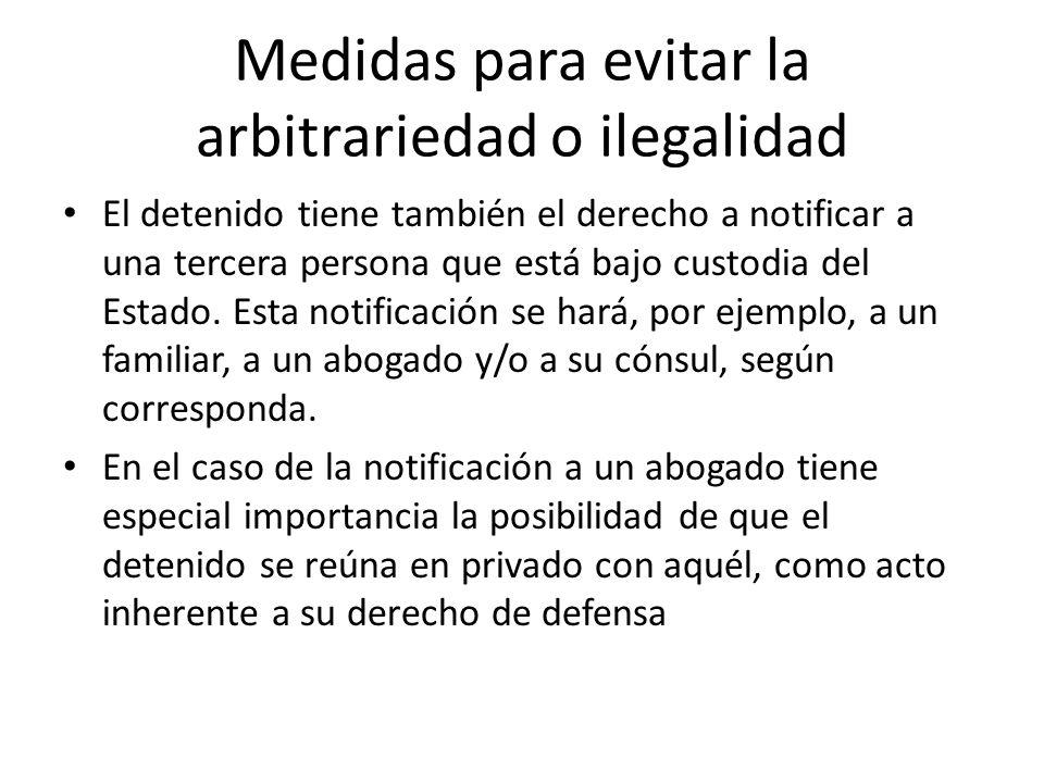 Medidas para evitar la arbitrariedad o ilegalidad