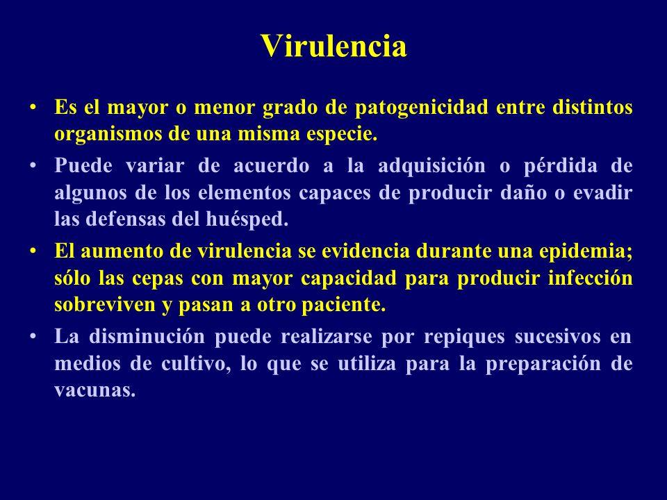 Virulencia Es el mayor o menor grado de patogenicidad entre distintos organismos de una misma especie.