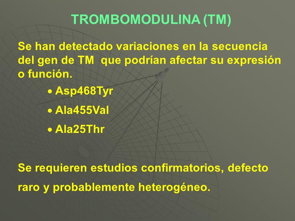 TROMBOMODULINA (TM) Se han detectado variaciones en la secuencia del gen de TM que podrían afectar su expresión o función.