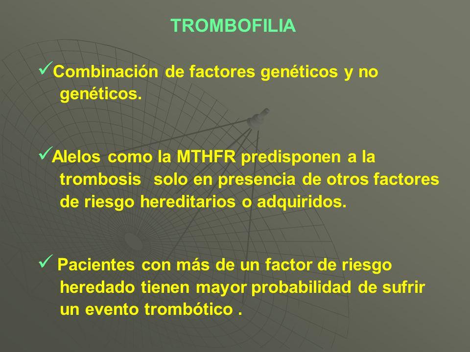 TROMBOFILIA Combinación de factores genéticos y no genéticos.