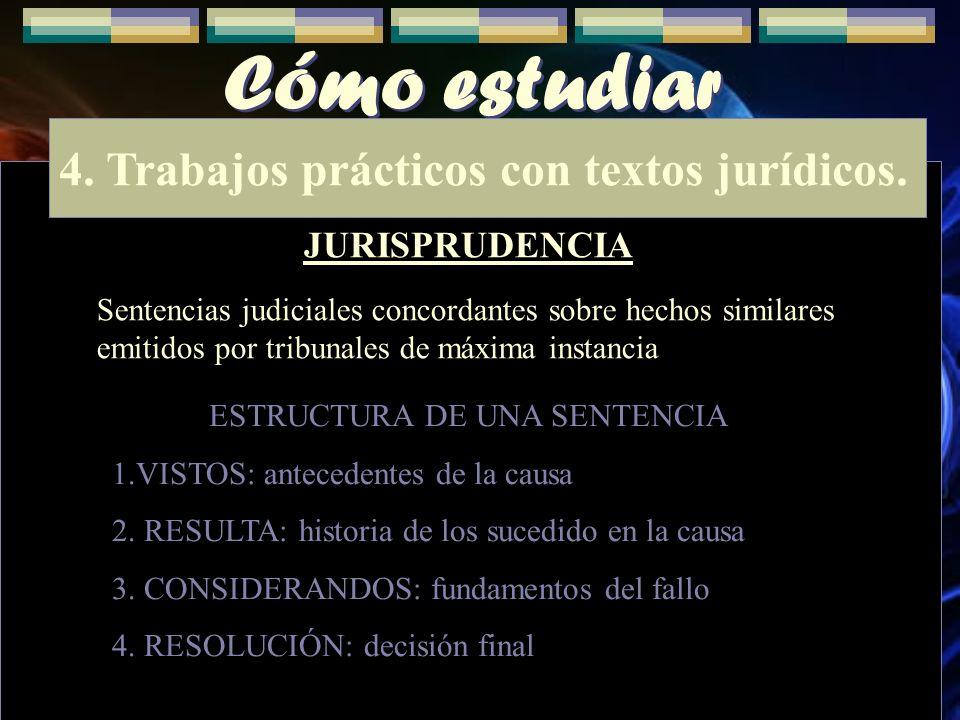 4. Trabajos prácticos con textos jurídicos.