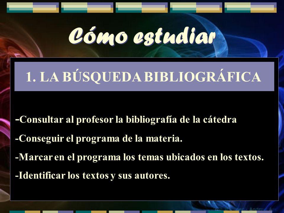 LA BÚSQUEDA BIBLIOGRÁFICA