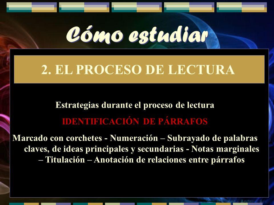 Estrategias durante el proceso de lectura IDENTIFICACIÓN DE PÁRRAFOS