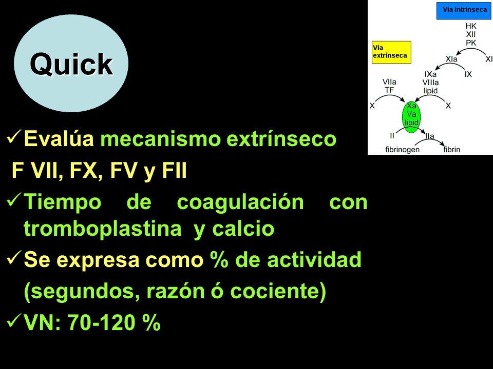 Quick Evalúa mecanismo extrínseco F VII, FX, FV y FII