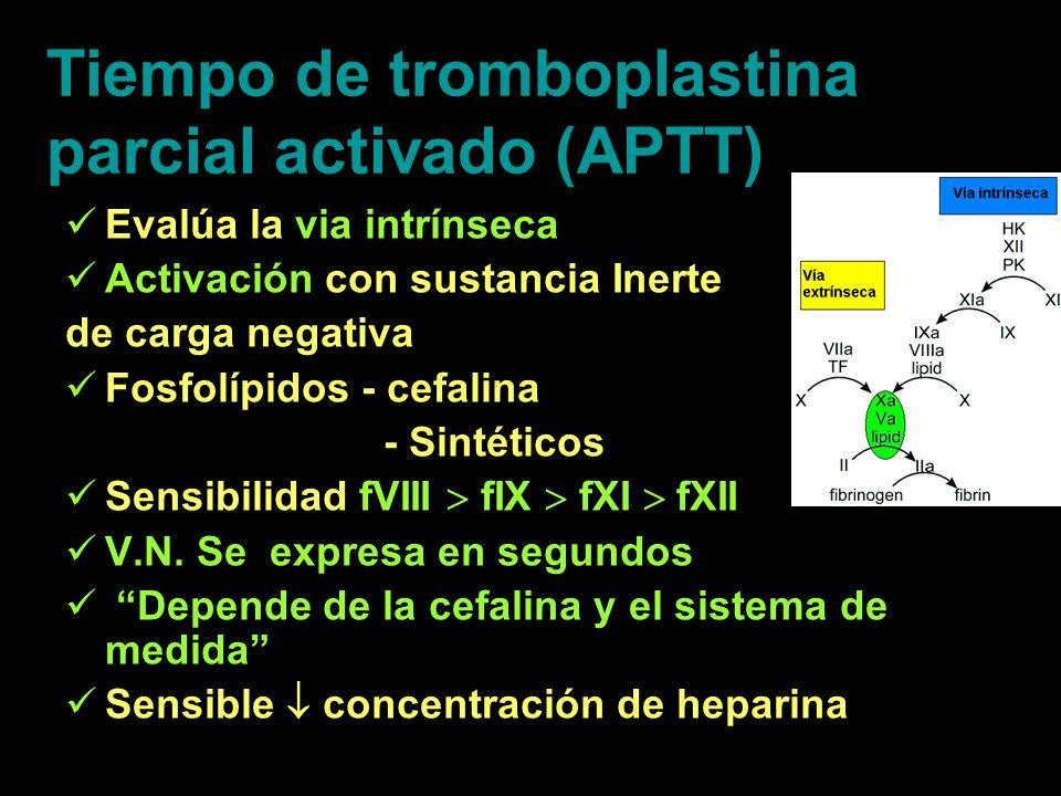 Tiempo de tromboplastina parcial activado (APTT)