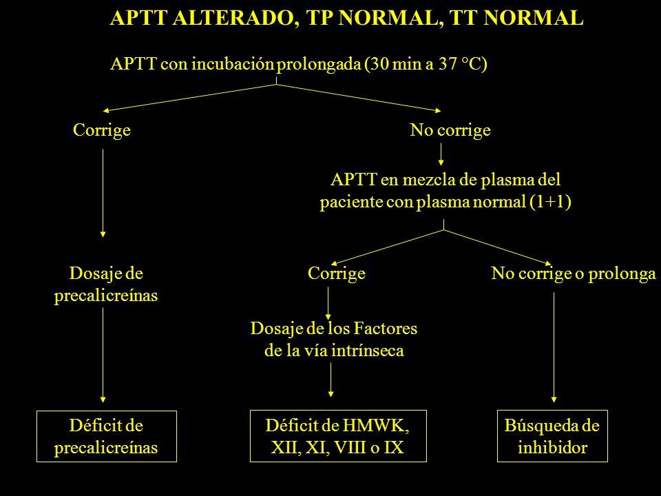 APTT ALTERADO, TP NORMAL, TT NORMAL