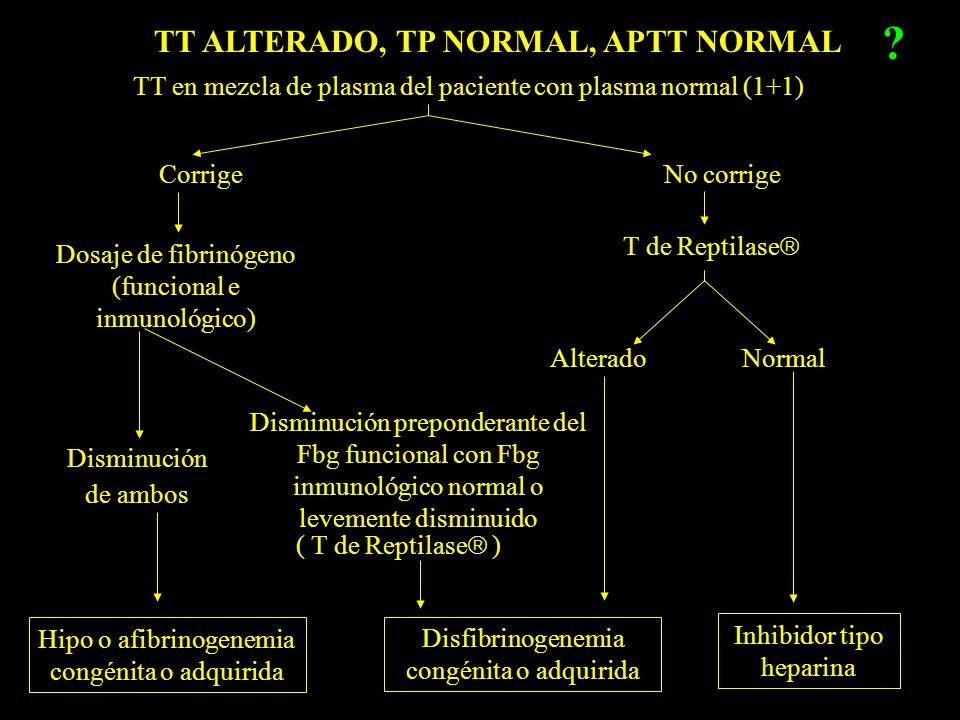 TT ALTERADO, TP NORMAL, APTT NORMAL