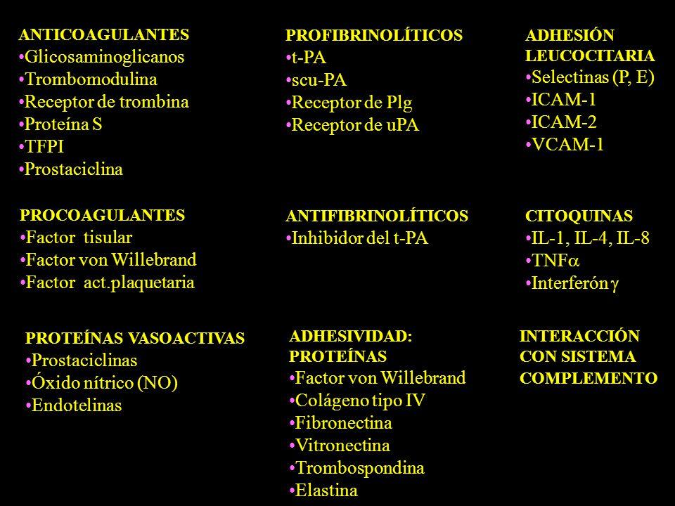 Factor act.plaquetaria Inhibidor del t-PA IL-1, IL-4, IL-8 TNF