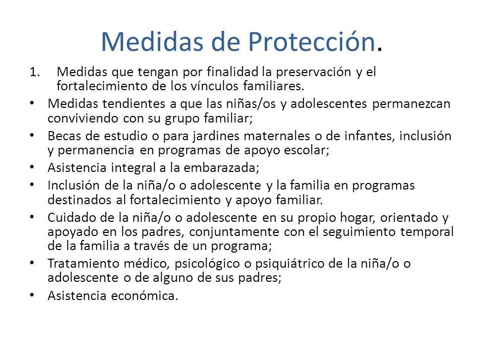 Medidas de Protección. Medidas que tengan por finalidad la preservación y el fortalecimiento de los vínculos familiares.