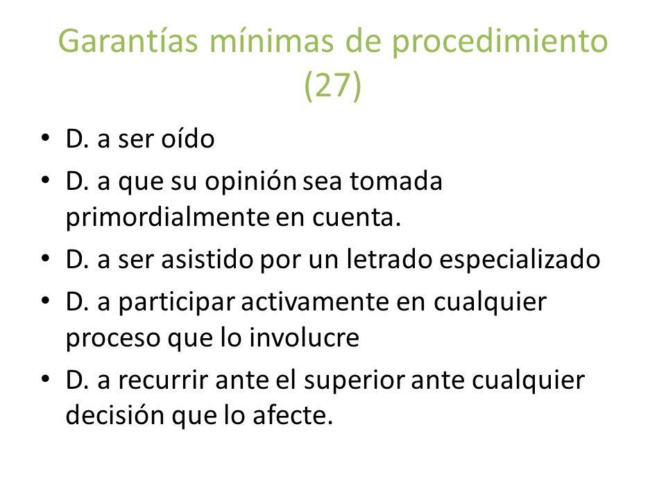 Garantías mínimas de procedimiento (27)