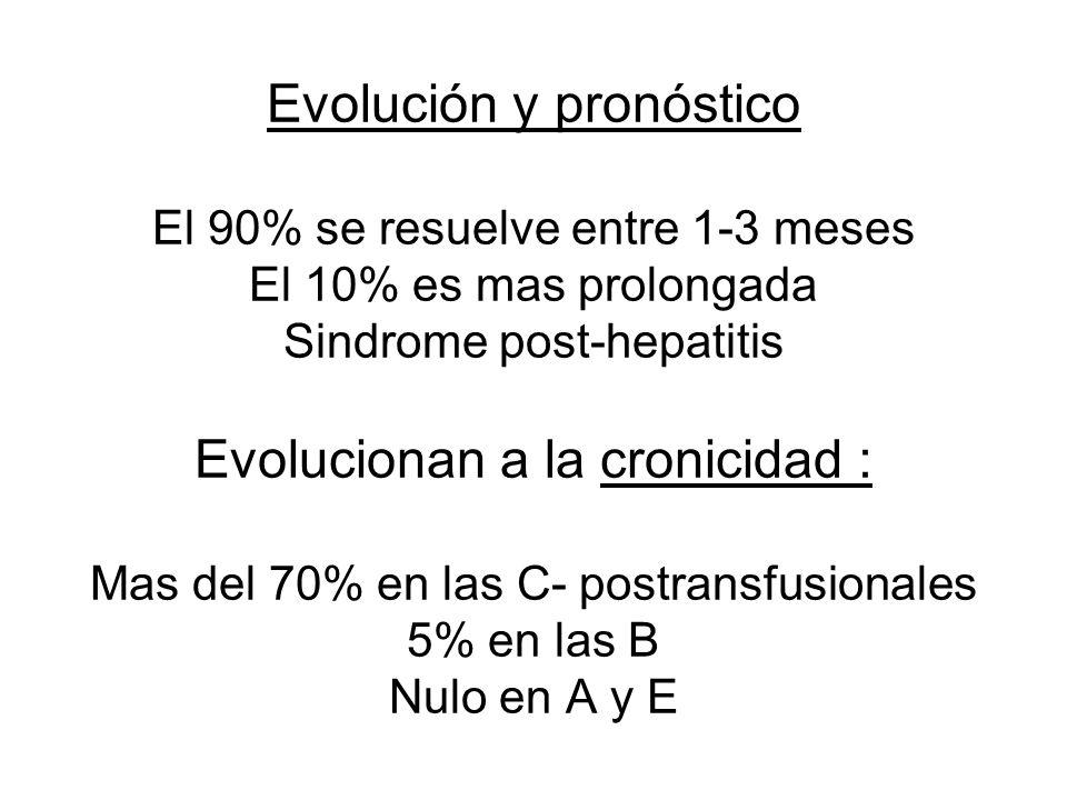 Evolución y pronóstico El 90% se resuelve entre 1-3 meses El 10% es mas prolongada Sindrome post-hepatitis Evolucionan a la cronicidad : Mas del 70% en las C- postransfusionales 5% en las B Nulo en A y E