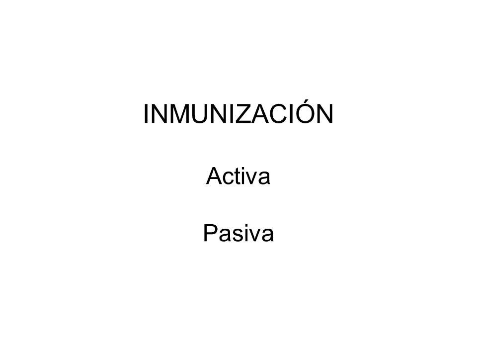 INMUNIZACIÓN Activa Pasiva