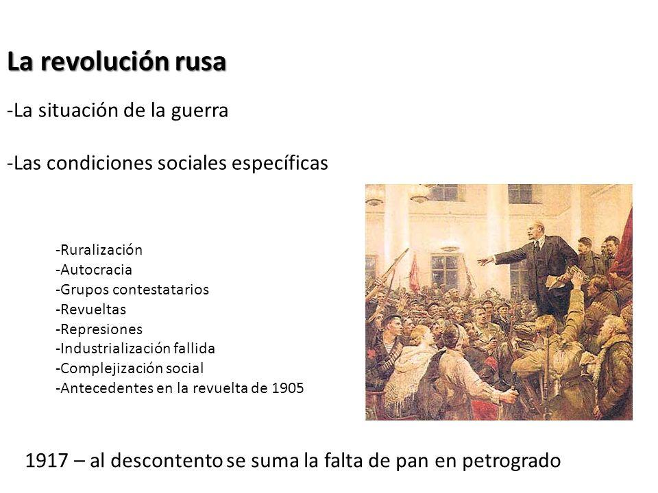 La revolución rusa La situación de la guerra